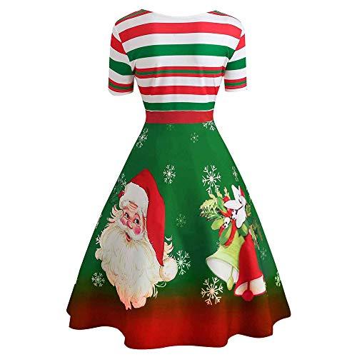 Vintage Swing Dress,Jushye Women Ladies Christmas Santa Claus Stripe Print V-Neck Midi Dress Xmas Costume Green