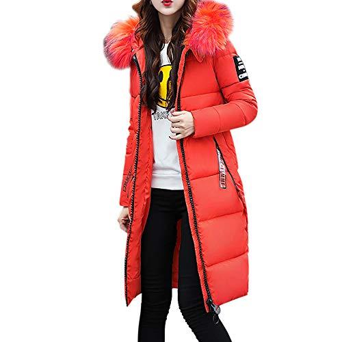 BHYDRY Damen Winterjacke Wintermantel Lange Daunenjacke Jacke Outwear Frauen Winter Warm Daunenmantel Solide L?ssig Dicker Winter Slim Down Lammy Jacke Mantel(EU-38/CN-XL,Orange)