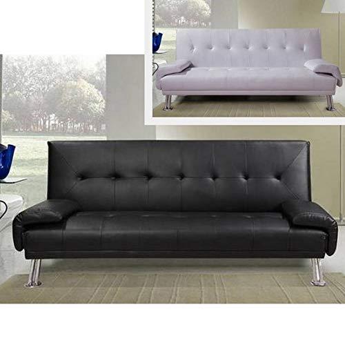 Divano letto ecopelle BIANCO o NERO da cm 194 sofa per soggiorno moderno per 3 persone modello Sibilla I new10