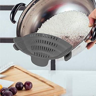 Silicone Food Strainer Spaghetti Pot Drainer, HOOFUN Handsfree Snap Food Colander for Noodles,Pasta, Fruit, Ground Beef- Adjustable Food Grade Kitchen Filter for Pot Pans Bowls (Grey)