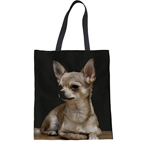UNICEU Cute Chihuahua Dog Print Women Fashion Canvas Tote Durable Reusable Grocery Shopping Shoulder Bag with Handle