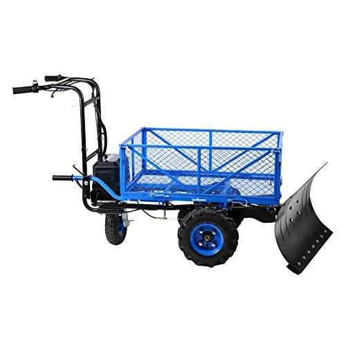Landworks Snow Plow Wagon Utility Electric Wheelbarrow Barrel Dump Power Wagon Mountable Steel