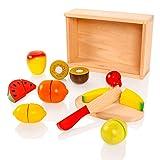 New Classic Toys - Caja con Fruta y Comida de Juguete para Cortar