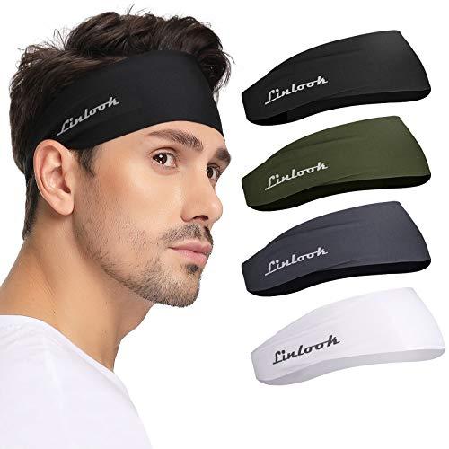 Sport Stirnbänd für Herren - Breites Haarband Dünn Schweißband für Laufen, Joggen, Wandern, Fahrrad, Motorrad, Tennis und Fitness