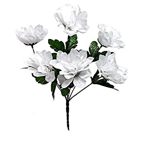 6 Dahlia Flowers White Silk Flower Bush Wedding Bridal Bouquet Centerpiece Decor