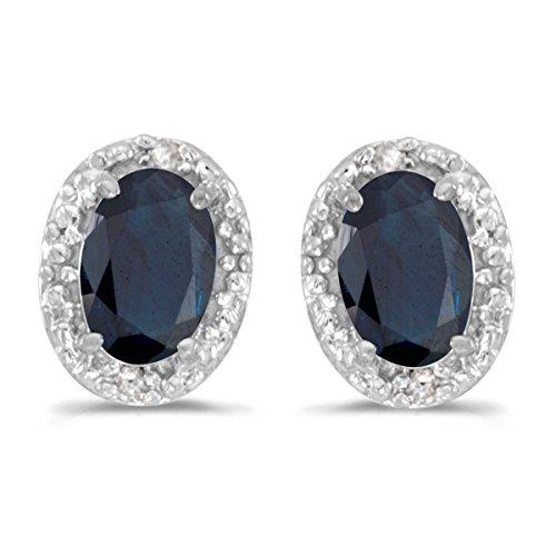 14k Weißgold Oval Saphir und Diamant Ohrringe