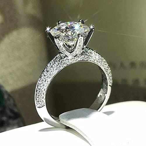 YANGYUE Solitario 1Ct Anillo de Diamante de Laboratorio 925 Anillos de Boda de Compromiso de Plata esterlina para Mujeres Regalo de joyería de Moissanite
