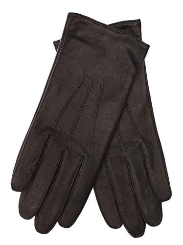 EEM Damen Leder Handschuhe AMELIE-IP mit Touch-Funktion aus Lammnappaleder, modisch, warm, smartphone; schwarz, M