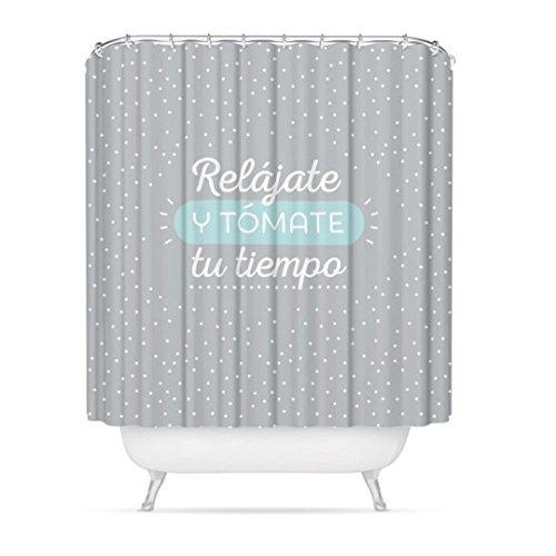 """dcasa - Cortina de baño original diseño frase """"RELAJATE"""" poliester 1"""