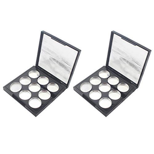 CUTICATE 2pcs Palette de Maquillage Vide avec Miroir Pour Lipstick Blush Poudre de Sourcil DIY et Couvercle Transparent