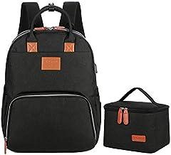 Mywilon - Bolsa de pañales para bebé y mamá – Gran capacidad de almacenamiento – Bolsa de pañales multifunción impermeable – Bolsa de viaje con espacio para ordenador portátil (negro)