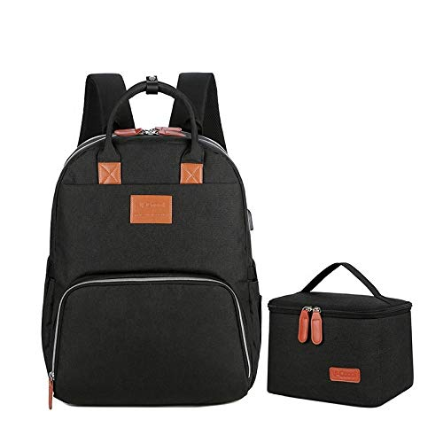 MYWILON - Mochila cambiador para bebé y mamá – Gran capacidad – Bolsa de pañales multifunción impermeable – Bolsa de viaje con compartimento para ordenador portátil (negro)