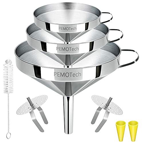Entonnoir Cuisine,PEMOTech 3 Tailles(11/13/15cm) Superposable entonnoirs inox avec 2 filtres amovibles et une brosse,2 bouche en silicone pour cuisson,transfert de liquide,huiles essentielles,poudre