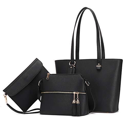 JOSEKO Handtasche Damen Tasche Damen Shopper Damen Groß Schultertasche Handtaschen Damen Groß Designer Elegant Umhängetasche Damen 3-teiliges Set Geeignet zum Einkaufen und Dating Schwarz