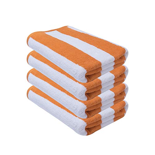 Avalon Towels Cabana Stripe Beach Towels – 30x60 inches Large Size Pool Towels – Made from Premium Ring Spun Cotton – Pack of 4 Highly Soft and Absorbent Towels, Multipurpose for Indoor & Outdoor