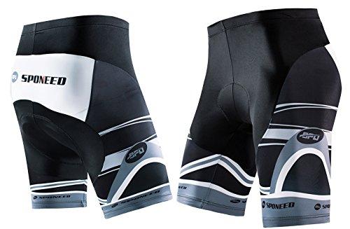 sponeed Mens Bicycle Shorts Coolmax Spin Bike Pants with Padding Cycle Bottoms No Pockets Asian XXL/US XL Gray Multi