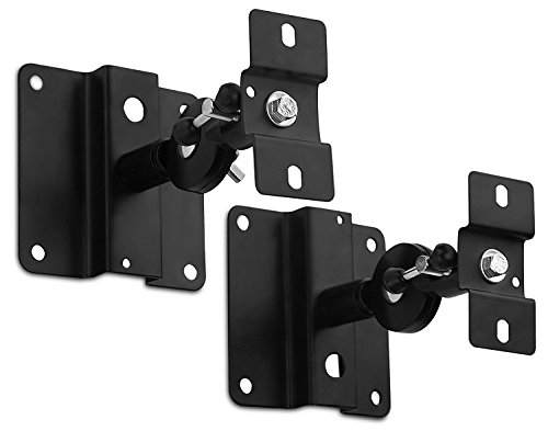 Mount-It! Speaker Mount for Wall and Ceiling, Low Profile Heavy Duty, Anti-Theft, Universal for Channel Surround Sound and Satellite Speakers, Black, 2 Mounts