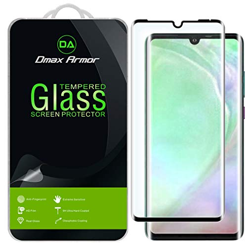 [2-Pack] Dmax Armor for Huawei (P30 Pro) Tempered Glass Screen Protector, [Full Screen Coverage][3D Curved Glass] Anti-Scratch, Anti-Fingerprint, Bubble Free, (Black)