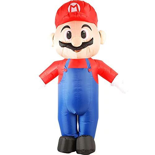 RenKeAi Costume Gonflable pour Adultes Super Mario Déguisement d'halloween Blow Up Party Cosplay Costume Gonflable Super Mario Cosplay avec soufflerie - 160-190 cm de Hauteur
