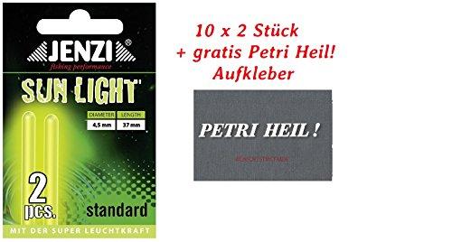 Jenzi 20 STÜCK KNICKLICHT 4,5mmx3,7cm + Petri Heil Aufkleber