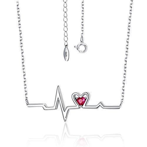 SIMPLOVE 925 Sterling Silber Herzschlag Halskette EKG Lebenslinie Puls Anhänger mit Herz Zirkonia Krankenschwester Halskette Schmuck Geschenk für Frauen Mädchen