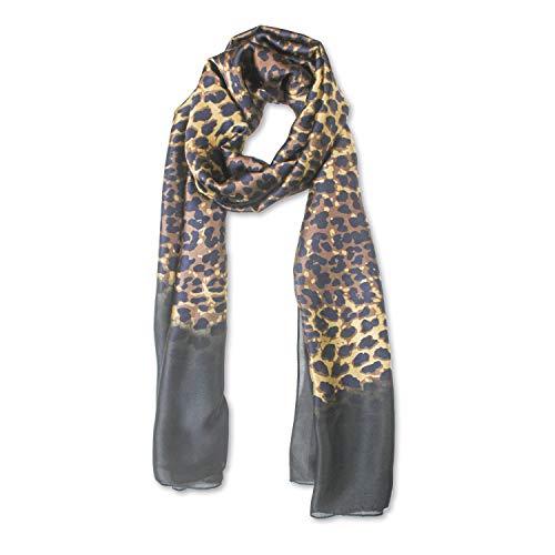 QYX Bufanda De Seda Pura Para Mujer Ligero, Fulares De Larga Satén Leopardo Marrón Pañuelo Seda De Protección Solar Chales Para La Cabeza Accesorios Para El Bolso De Cuello