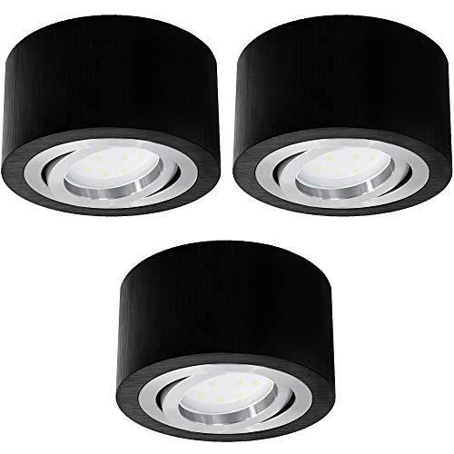3er Set SSC-LUXon LED Aufbauspot rund schwarz schwenkbar extra flach - Aufbaustrahler Ø 90 mm inkl 5W LED Modul warmweiß 230V