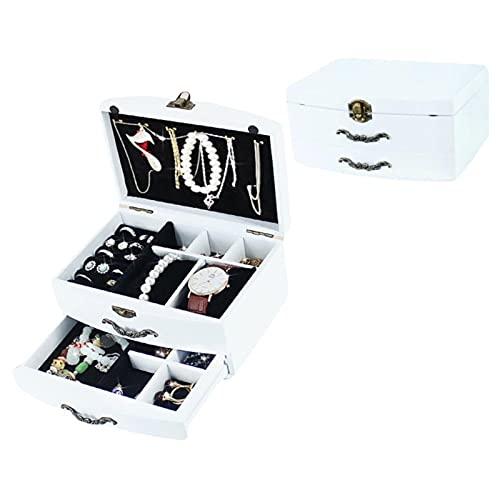 SONGQ Caja de joyería retro con 2 capas de forro de terciopelo de madera, anillos cerrables, pendientes, collares, pulseras, organizador, regalo para niñas y mujeres (color: C)
