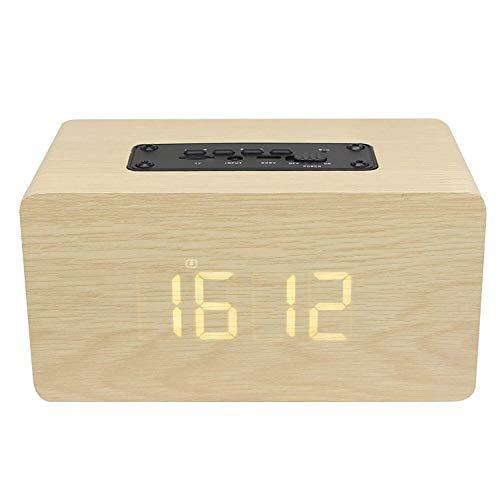 XiaoDong1 Versión del Reloj Bluetooth 4.2 Altavoz portátil, Reloj de Alarma estéreo de Madera Pantalla LED Tiempo Altavoz Multifunción Amarillo Grano de Madera