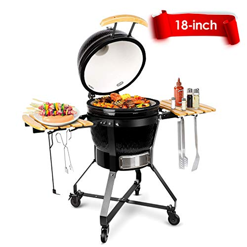 TUSY Kamado Charcoal Grill,18-inch Advanced Grill Ceramic with Thermometer, Stable Rack for Moving Anywhere, Suitable for 5-12 People Camping Barbecue -Black