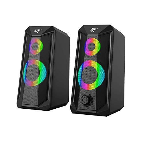 Caixa De Som Havit Sk202 Rgb Preta 110v/220v Stéreo
