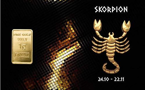 Deutsches Goldkontor 1,0 Gramm Feingold Motiv-Karte Sternzeichen Skorpion Goldbarren / 999,9 Gold
