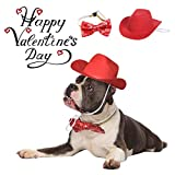 Vehomy Valentine's Day Dog Cat Cowboy Hat and Bow tie Collar Pet Cowboy Costume for Dogs and Kittens Set of 2Pcs