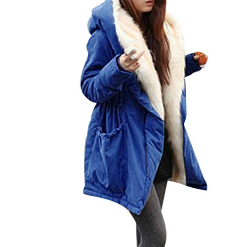 iHee Damen Mäntel, 2017 Neue Winter Warm Thick Fleece Faux Fur Coat Jacket Parka Hooded Trench Outwear (M, Blau)