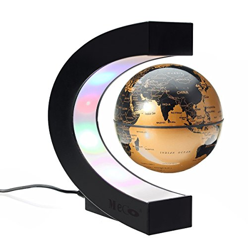 MECO Funny C Shape Magnetic Levitation Floating Globe Rotating World Map with Colored LED Light Anti Gravity Globe for Children Gift Home Office Desk Decoration Valentine's Day present Gold