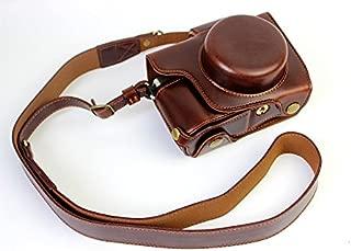 Full Protection Bottom Opening Version Protective PU Leather Camera Case Bag with Tripod Design Compatible for Olympus OM-D E-M10 Mark 2 EM10 Mark II with Shoulder Neck Strap Belt Dark Brown