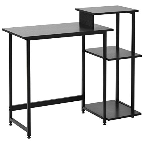 Mesa de escritorio de escritorio de computadora pequeña con 3 estantes de almacenamiento mesa de escritorio con estantería para computadora portátil con marco de acero para espacios pequeños en