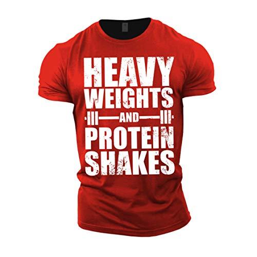 GYMTIER Camiseta de culturismo para hombre, pesos pesados, batidos de proteína, parte...