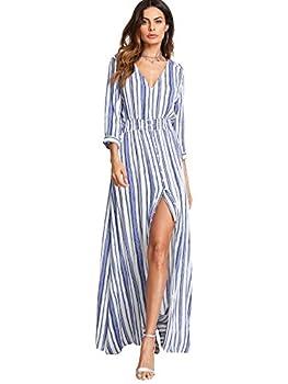 Milumia Women s Stripe V Neck Half Sleeve Split Button Up Party Maxi Dress Blue X-Large