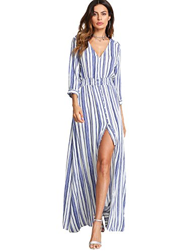 Milumia Women's Button Up Split Floral Print Flowy Party Maxi Dress Large Blue White Stripe