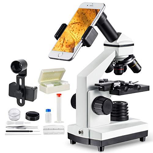 MAXLAPTER 1000x Microscopio para Niños Profesional Portatil, Lente Zoom de 4X 10x 40x, con Regla Móvil y Clip de Teléfono, Adecuado para Enseñanza, Investigación Biológica y Educación Familiar