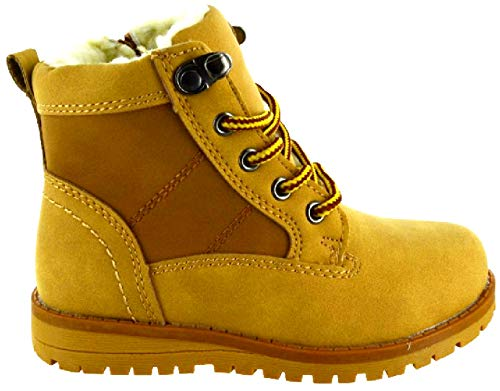 sole london Kids Boys Girls Children Infants Zip UP Fur Lined Warm Ankle Hiking Combat Boots Tan