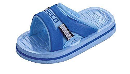 BECO Beermann GmbH & Co. KG Unisex-Kinder Kinderpantoletten mit Fußbett Pantoletten, Blau (Blau 6), 24 EU