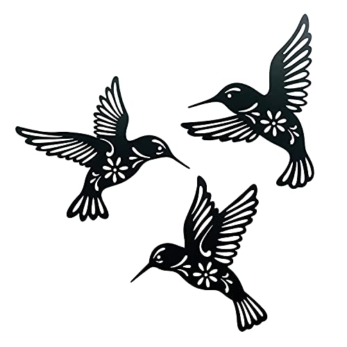 Waiu Metal hummingbird wall art decor, 9inch set of 3 black Concise Decoration Hanging for living room bedroom bathroom Kitchen Patio Balcony House indoor outdoor, unique gift choice