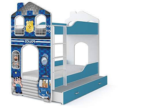 Etagenbett für Kinder - DOMINIC - mit Matratzen und Schublade - Muster 1 - Polizei
