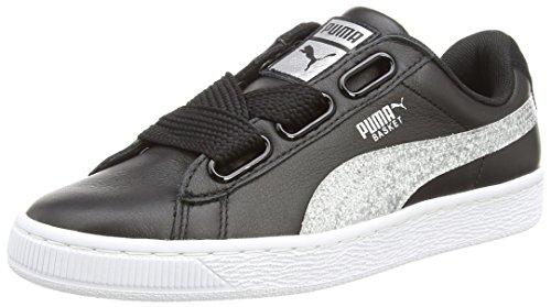 PUMA Basket Heart Glitter, Sneaker, Schwarz (Black-Silver), 39 EU (6 UK)