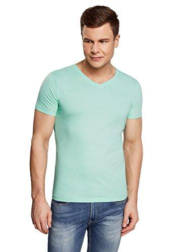 oodji Ultra Herren T-Shirt Basic mit V-Ausschnitt, Grün, XL