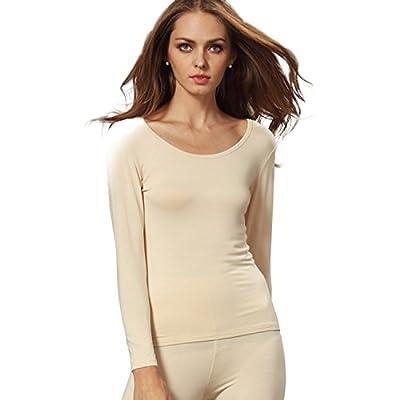 Liang Rou Women's Scoop Neck Long Sleeve Ultrathin Modal Thermal Underwear Shirt/Top Apricot Medium