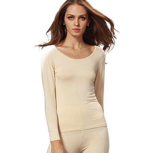 Liang Rou Women's Scoop Neck Long Sleeve Ultrathin Modal Thermal Underwear Shirt/Top Apricot Medium