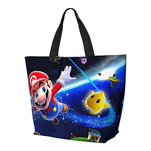 Super Mario Bolso de mano con asa de hombro, estilo simplicidad, gran capacidad, bolsa de compras, gimnasio, playa, viajes, diario, unisex, plegable